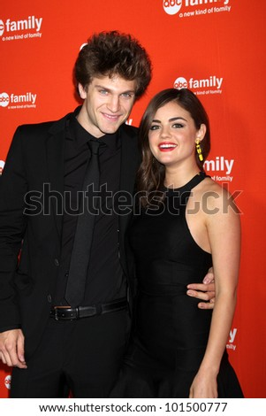 LOS ANGELES - MAY 1:  Keegan Allen, Lucy Hale arrives at the ABC Family West Coast Upfronts at The Sayers Club on May 1, 2012 in Los Angeles, CA - stock photo