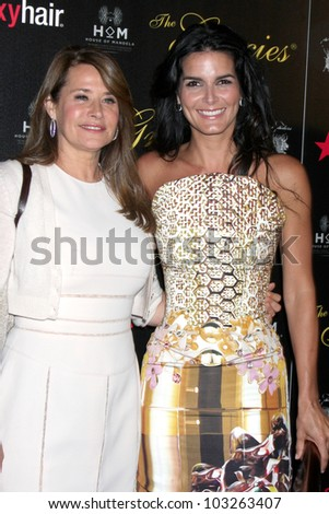 LOS ANGELES - MAY 22:  Lorraine Bracco, Angie Harmon arrives at the 37th Annual Gracie Awards Gala at Beverly Hilton Hotel on May 22, 2012 in Beverly Hllls, CA - stock photo