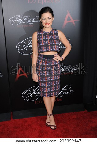 """LOS ANGELES - MAY 31:  Lucy Hale arrives to the """"Pretty Little Liars"""" 100th Episode Celebration  on May31, 2014 in Hollywood, CA.                 - stock photo"""