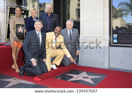 LOS ANGELES - MAY 13: Marjorie Bridges, Ellen DeGeneres, Dr Phil McGraw, Leron Gubler, Steve Harvey, Tom LaBonge at a ceremony as Steve Harvey is honored with a star on May 13, 2013 in Los Angeles, CA - stock photo