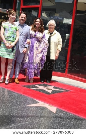 LOS ANGELES - MAY 19:  Melissa McCarthy, Family, Ben Falcone at the Melissa McCarthy Hollywood Walk of Fame Ceremony at the TCL Chinese Theater on May 19, 2015 in Los Angeles, CA - stock photo