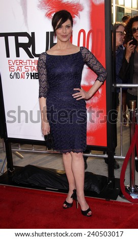 """LOS ANGELES - MAY 30:  MICHELLE FORBES arrives to """"True Blood"""" Season 5 Premiere  on May 30, 2012 in Hollywood, CA                 - stock photo"""