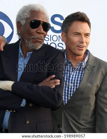 LOS ANGELES - MAY 19:  Morgan Freeman, Tim Daly at the CBS Summer Soiree at the London Hotel on May 19, 2014 in West Hollywood, CA - stock photo