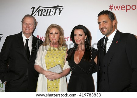 LOS ANGELES - MAY 12:  Rick Hilton, Kathy Hilton, Kyle Richards, Mauricio Umansky at the Power Up Gala at the Beverly Wilshire Hotel on May 12, 2016 in Beverly Hills, CA - stock photo
