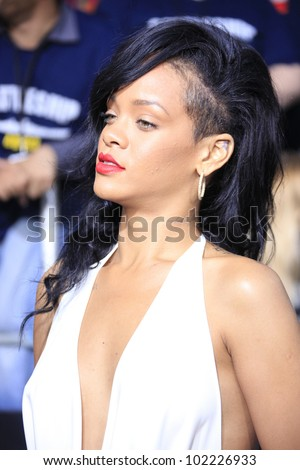 LOS ANGELES - MAY 10: Rihanna at the premiere of Universal Pictures' 'Battleship' at The Nokia Theater L.A. Live on May 10, 2012 in Los Angeles, California - stock photo