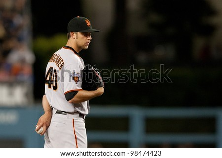LOS ANGELES - MAY 19: San Francisco Giants P Madison Bumgarner #40 during the MLB game on May 19 2011 at Dodger Stadium in Los Angeles. - stock photo
