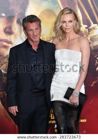 "LOS ANGELES - MAY 07:  Sean Penn & Charlize Theron arrives to the ""Mad Max: Fury Road"" Los Angeles Premiere  on May 7, 2015 in Hollywood, CA                 - stock photo"