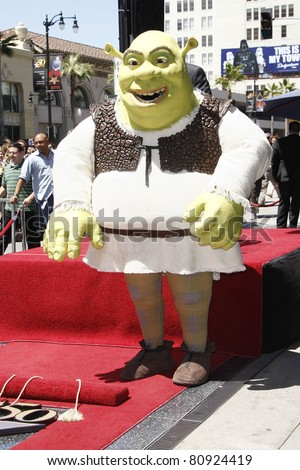 LOS ANGELES - MAY 20: Shrek at a ceremony where Shrek receives a star on the Hollywood Walk of Fame, Los Angeles, California on May 20, 2010 - stock photo