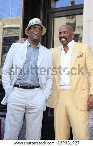 LOS ANGELES - MAY 13: Steve Harvey, Samuel L Jackson at a ceremony where Steve Harvey is honored with a star on the Hollywood Walk Of Fame on May 13, 2013 in Los Angeles, California - stock photo