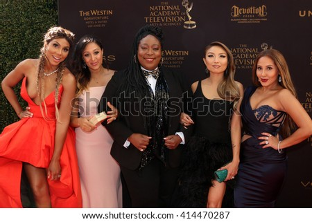 LOS ANGELES - MAY 1:  Tamar Braxton, Tamera Mowry-Housley, Loni Love, Jeannie Mai, Adrienne Bailon at the 43rd Daytime Emmy Awards at the Westin Bonaventure Hotel  on May 1, 2016 in Los Angeles, CA - stock photo