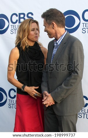 LOS ANGELES - MAY 19:  Tea Leoni, Tim Daly at the CBS Summer Soiree at the London Hotel on May 19, 2014 in West Hollywood, CA - stock photo