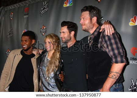 "LOS ANGELES - MAY 8:  Usher, Shakira, Adam Levine, Blake Sheldon arrives at ""The Voice"" Season 4 Top 12 Event at the House of Blues on May 8, 2013 in West Hollywood, CA - stock photo"