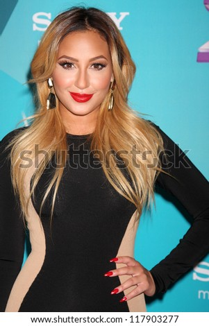 LOS ANGELES - NOV 5:  Adrienne Bailon arrives at the X-Factor Season Two FInalist Party at SLS Hotel at Beverly Hills on November 5, 2012 in Los Angeles, CA - stock photo