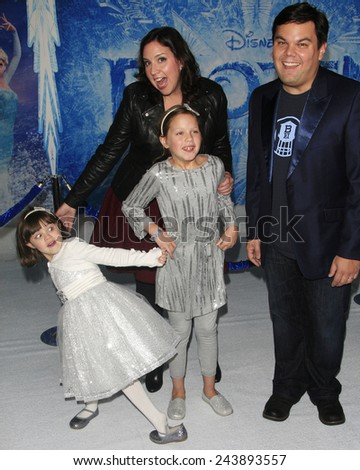 LOS ANGELES - NOV 19: Annie Lopez, Kristen Anderson-Lopez, Katie Lopez, Bobby Lopez at the premiere of 'Frozen' at the El Capitan Theater on November 19, 2013 in Los Angeles, CA - stock photo