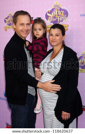 """LOS ANGELES - NOV 10:  Chad Lowe, family arrives at the """"Sofia The First: Once Upon a Princess"""" Premiere And Story Book Launch at Walt Disney Studios on November 10, 2012 in Burbank, CA - stock photo"""
