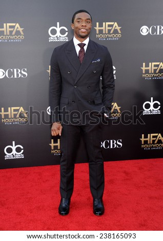 LOS ANGELES - NOV 14:  Chadwick Boseman arrives to the The Hollywood Film Awards 2014 on November 14, 2014 in Hollywood, CA                 - stock photo