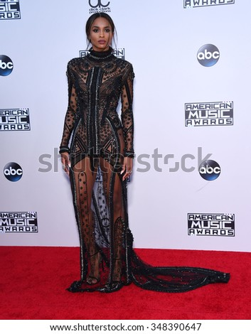 LOS ANGELES - NOV 22:  Ciara arrives to the American Music Awards 2015  on November 22, 2015 in Los Angeles, CA.                 - stock photo