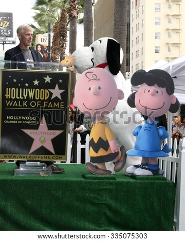 LOS ANGELES - NOV 2:  Craig Schultz, Charlie Brown, Snoopy, Lucy at the Snoopy Hollywood Walk of Fame Ceremony at the Hollywood Walk of Fame on November 2, 2015 in Los Angeles, CA - stock photo