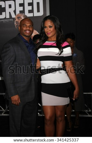 """LOS ANGELES - NOV 19:  Curtis Conway, Laila Ali at the """"Creed"""" Los Angeles Premiere at the Village Theater on November 19, 2015 in Westwood, CA - stock photo"""