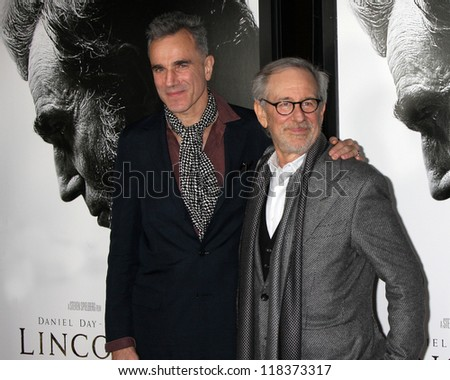 """LOS ANGELES - NOV 8:  Daniel Day-Lewis, Steven Spielberg arrives at the """"Lincoln"""" Premiere at the AFI Fest at Graumans Chinese Theater on November 8, 2012 in Los Angeles, CA - stock photo"""