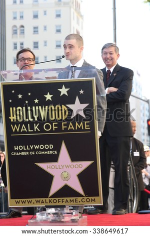 LOS ANGELES - NOV 12:  Daniel Radcliffe, Leron Gubler at the Daniel Radcliffe Hollywood Walk of Fame Ceremony at the Hollywood Walk of Fame on November 12, 2015 in Los Angeles, CA - stock photo