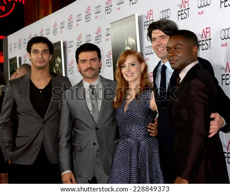 "LOS ANGELES - NOV 6:  Elyes Gabel, Oscar Isaac, Jessica Chastain, J.C. Chandor, David Oyelowo at the AFI screening Of ""A Most Violent Year"" at the Dolby Theater on November 6, 2014 in Los Angeles, CA - stock photo"