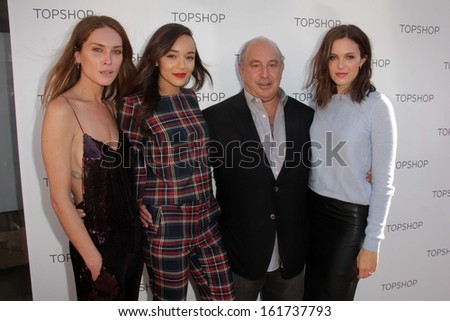 LOS ANGELES - NOV 2:  Erin Wasson, Ashley Madekwe, Mandy Moore at the Topshop Celebrates the Holidays at Topshop at The Grove on November 2, 2013 in Los Angeles, CA - stock photo