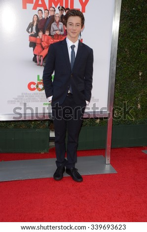 """LOS ANGELES - NOV 12:  Griffin Gluck at the """"Love the Coopers"""" Los Angeles Premiere at the The Grove on November 12, 2015 in Los Angeles, CA - stock photo"""