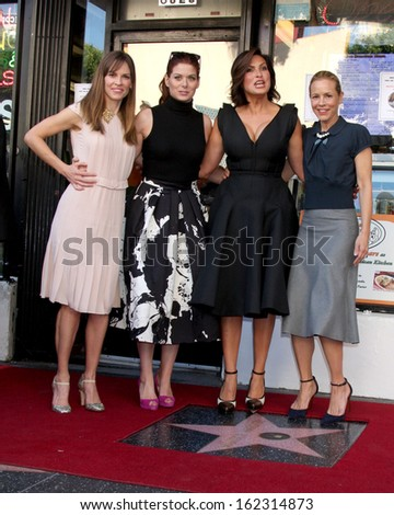 LOS ANGELES - NOV 8:  Hilary Swank, Debra Messing, Mariska Hargitay, Maria Bello at the Mariska Hargitay Hollywood Walk of Fame Star Ceremony at Hollywood Blvd on November 8, 2013 in Los Angeles, CA\ - stock photo