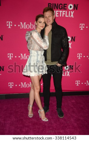 LOS ANGELES - NOV 10:  Jaime King, Kyle Newman at the T-Mobile Un-carrier X Launch Celebration at the Shrine Auditorium on November 10, 2015 in Los Angeles, CA - stock photo