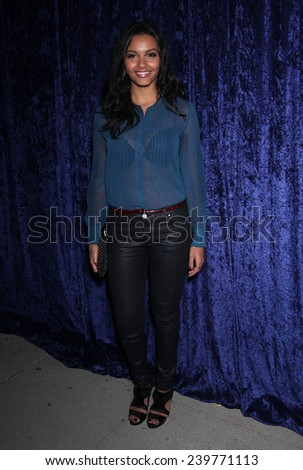 """LOS ANGELES - NOV 22:  JESSICA LUCAS arrives to the """"Super 8"""" DVD Launch  on November 22, 2011 in Beverly Hills, CA                 - stock photo"""