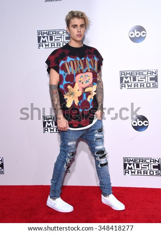 LOS ANGELES - NOV 22:  Justin Bieber arrives to the American Music Awards 2015  on November 22, 2015 in Los Angeles, CA.                 - stock photo