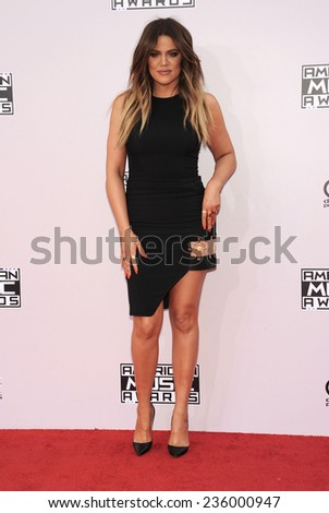 LOS ANGELES - NOV 23:  Khloe Kardashian arrives to the 2014 American Music Awards on November 23, 2014 in Los Angeles, CA                 - stock photo