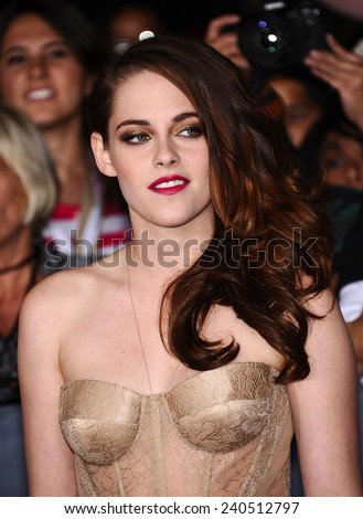 "LOS ANGELES - NOV 11:  Kristen Stewart arrives to the ""The Twilight Saga: Breaking Dawn-Part 2"" World Premiere  on November 11, 2012 in Los Angeles, CA                 - stock photo"