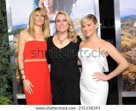 """LOS ANGELES - NOV 19:  Laura Dern, Cheryl Strayed & Reese Witherspoon arrives to the """"Wild"""" Los Angeles Premiere on November 19, 2014 in Beverly Hills, CA                 - stock photo"""