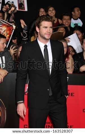 LOS ANGELES - NOV 18:  Liam Hemsworth at the The Hunger Games:  Catching Fire Premiere at Nokia Theater on November 18, 2013 in Los Angeles, CA - stock photo