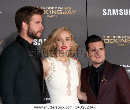 "LOS ANGELES - NOV 16:  Liam Hemsworth, Jennifer Lawrence, Josh Hutcherson at the ""The Hunger Games -Mockingjay Part 2"" LA Premiere at the Microsoft Theater on November 16, 2015 in Los Angeles, CA - stock photo"
