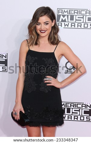 LOS ANGELES - NOV 23:  Lucy Hale at the 2014 American Music Awards - Arrivals at the Nokia Theater on November 23, 2014 in Los Angeles, CA - stock photo