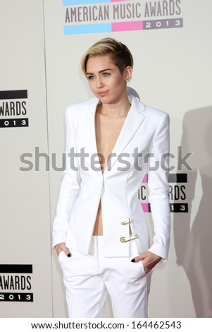 LOS ANGELES - NOV 24:  Miley Cyrus at the 2013 American Music Awards Arrivals at Nokia Theater on November 24, 2013 in Los Angeles, CA - stock photo