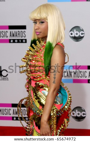 LOS ANGELES - NOV 21:  Nicki Minaj arrives at the 2010 American Music Awards at Nokia Theater on November 21, 2010 in Los Angeles, CA - stock photo