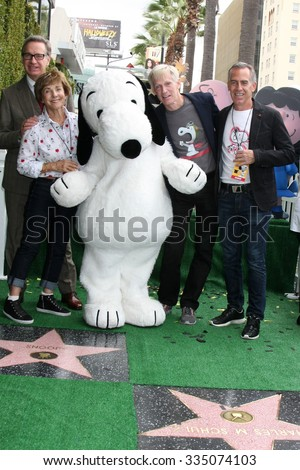 LOS ANGELES - NOV 2:  Paul Feig, Jean Schultz, Snoopy, Craig Schultz, Steve Martino at the Snoopy Hollywood Walk of Fame Ceremony at the Hollywood Walk of Fame on November 2, 2015 in Los Angeles, CA - stock photo