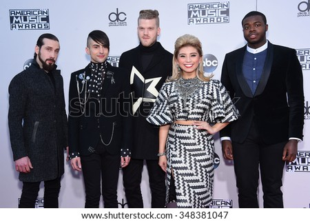 LOS ANGELES - NOV 22:  Pentatonix arrives to the American Music Awards 2015  on November 22, 2015 in Los Angeles, CA.                 - stock photo