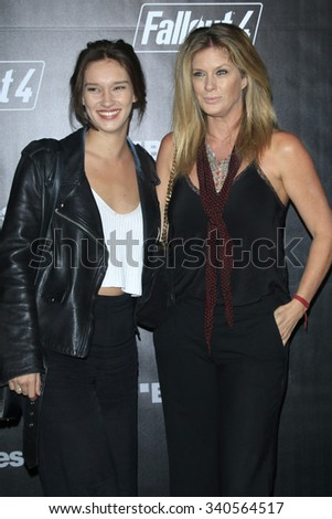 LOS ANGELES - NOV 05:  Renee Stewart, Rachel Hunter at the Fallout 4 video game launch  at the downtown on November 05, 2015 in Los Angeles, CA - stock photo