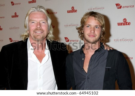 LOS ANGELES - NOV 10:  Richard Branson, Sam Branson arrives at the Rock the Kabash Gala 2010 at Dorothy Chandler Pavilion  on November 10, 2010 in Los Angeles, CA - stock photo