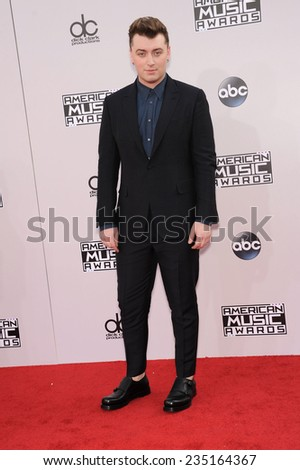 LOS ANGELES - NOV 23:  Sam Smith arrives to the 2014 American Music Awards on November 23, 2014 in Los Angeles, CA                 - stock photo