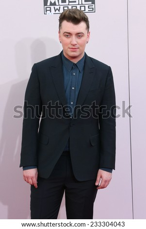 LOS ANGELES - NOV 23:  Sam Smith at the 2014 American Music Awards - Arrivals at the Nokia Theater on November 23, 2014 in Los Angeles, CA - stock photo