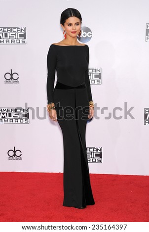 LOS ANGELES - NOV 23:  Selena Gomez arrives to the 2014 American Music Awards on November 23, 2014 in Los Angeles, CA                 - stock photo