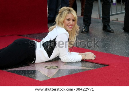 LOS ANGELES - NOV 8:  Shakira at the Hollywood Walk of Fame Ceremony bestowing a star on Shakira at W Hollywood on November 8, 2011 in Los Angeles, CA - stock photo
