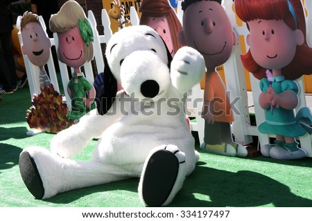 "LOS ANGELES - NOV 1:  Snoopy at the ""The Peanuts Movie"" Los Angeles Premiere at the Village Theater on November 1, 2015 in Westwood, CA - stock photo"