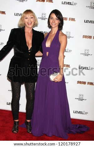 LOS ANGELES - NOV 27:  Sybil Danning, Courtney Palm arrive at the 'Sushi Girl' Premiere at Graumans Chinese Theater on November 27, 2012 in Los Angeles, CA - stock photo